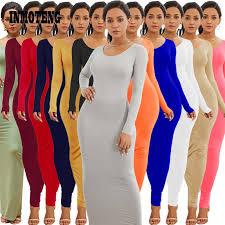 12 Colors 2019 <b>Autumn Long Sleeve Bodycon</b> Sexy Women Robe ...