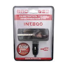 Купить <b>разветвитель прикуривателя</b> Intego С-09 на 3 гнезда с <b>1</b> ...