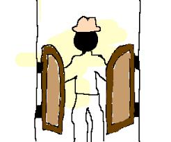 Man walking through saloon doors into a bar
