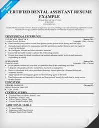 sample dental assistant resume examples  certified dental    certified dental assistant resume examples