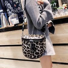 <b>Leopard Print Bucket Woman</b> Bag Pu Leather Crossbody Bags ...