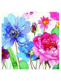<b>Салфетки бумажные Красочные</b> цветы 3-х слойные, 25х25, 20 ...