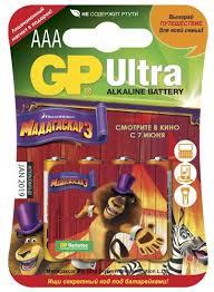 <b>Батарея GP 24A</b><b>LR03</b> Ultra Alkaline AAA (блистер <b>4</b> шт ...