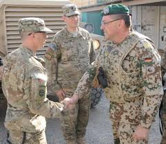 Gen. Richard Rossmanith (right), International Security Assistance Force deputy chief of staff for stability from Heidelberg, Germany, as he arrives on Camp ... - 450x392_q75