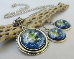 <b>Planet</b> Earth <b>Jewelry Set</b> - Blue Green Glass Cabochon Necklace ...