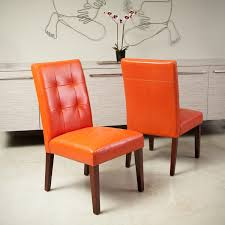 cambridge tufted orange bonded leather dining chair set of 2 by christopher knight home burnt orange furniture