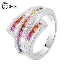 Colorful <b>Rainbow</b> CZ Engagement Band <b>Ring</b> for <b>Women</b> Three ...