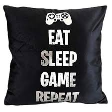 Funny Party Pieces Eat Sleep Game Repeat Cushion ... - Amazon.com