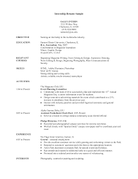 Resume Examples  Resume Objectives For Internships With Experience And Activities History  Resume Objectives For