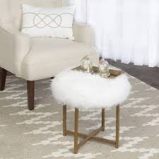 Shop Silver Orchid Hartau White <b>Faux Fur Round Stool</b> with ...