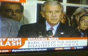 「President George W. Bush were roundly criticized for what was perceived as their slow response to the disaster」の画像検索結果