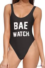 <b>BAE WATCH Letter</b> Printed Sleeveless Scoop Neck One Piece ...