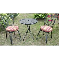 crossman piece outdoor bistro: scroll and stripe  piece outdoor bistro set seats