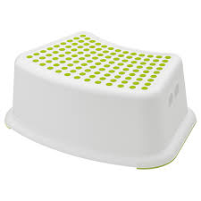FÖRSIKTIG Children's <b>stool</b>, <b>white</b>, green - IKEA