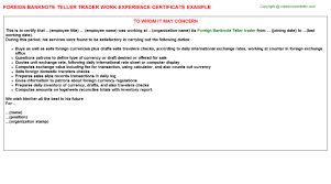 foreign banknote teller trader experience letter equity trader cover letter