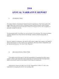annual narrative report a sample