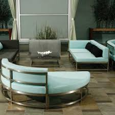 patio furniture sectional ideas: gorgeous patio design using cool sectional sofa by woodard furniture with turquoise cushions seat ant tile