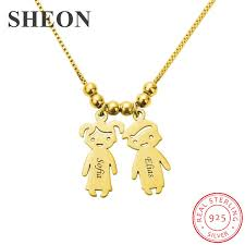<b>SHEON</b> Personalized Engraved Kids Charms Necklace <b>925 Sterling</b> ...