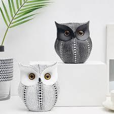 Nordic Style <b>Minimalist Craft White</b> Black Owls Animal Figurines ...