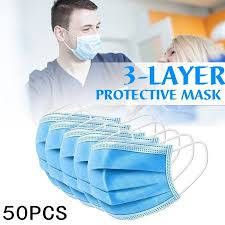 <b>50Pcs Medical Masks</b> 3-Layers Filtration <b>Mask Disposable</b> Surgical ...
