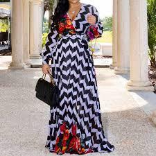 <b>African Ethnic Style Polka</b> Dot Maxi Dress Women Green Stripe ...