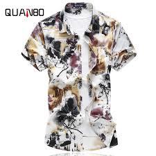 <b>QUANBO</b> Brand Clothing Hawaii Men Floral Shirts <b>2019 New</b> ...