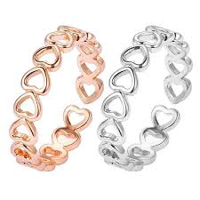 Hot <b>Hollow</b> Heart Ring Silver Plated Adjustable Finger Rings ...