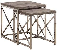 Monarch Specialties I <b>Nesting Table</b>-<b>2Pcs</b> Set/Grey Cement with ...