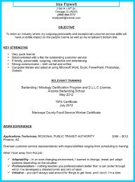 resume objective for bartending job cipanewsletter cover letter resume examples for bartender resume examples for a
