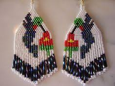 Unique earrings with abstract floral print Beaded earrings Native ...