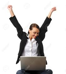 young career w completes project on her laptop stock photo stock photo young career w completes project on her laptop