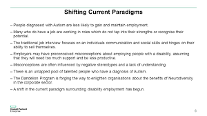 increasing awareness about the benefits of employing adults on the shifting current paradigms people diagnosed autism are less likely to gain and maintain employment