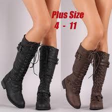 <b>Plus Size 34-43</b> Womens <b>Knee</b> High Lace Up Buckle Fashion ...