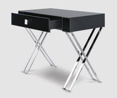 comprising chrome gold copper and glass our modern range of metallic and glass furniture suits the most contemporary interiors black and chrome furniture