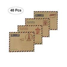 Amazon.com : Nakimo <b>Mini Envelopes</b> Vintage Airmail Style Kraft ...