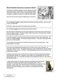was christopher columbus a success or failure worksheet year  was christopher columbus a success or failure