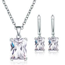 <b>New</b> Summer <b>Arrival</b> Square Oval Silver Color Jewelry Sets For ...