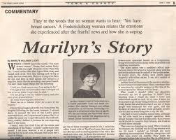 breast cancer journeys by marilyn holasek lloyd blogging about marilyn holasek lloyd of fredericksburg is a former psychiatric nurse and stress consultant she teaches literature and college composition at germanna