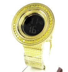 mens techno com kc canary cz xl bezel digital watch 25 00ct