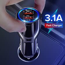 GETIHU <b>3.1A 18W Car Charger</b> Quick Charge 3.0 Dual USB ...