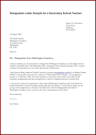 8 resignation letter format for teacher sendletters info resignation letter sample for a secondary school teacher by docbase