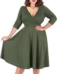 <b>Nemidor Women's</b> V-Neckline Stretchy Casual Midi Plus Size ...