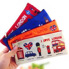 1pcs/lot Vintage Cartoon London style students zipper pencil bag ...