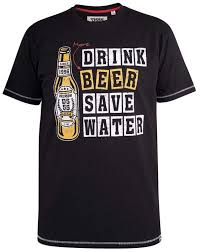 D555 Salford <b>Save Water Drink Beer</b> T-shirt Black in big sizes ...