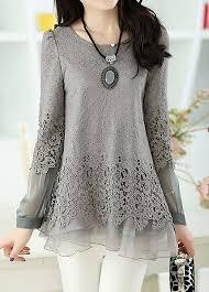 Layered Long Sleeve <b>Lace</b> Panel <b>Grey</b> Blouse at Rosewe.com, <b>free</b> ...