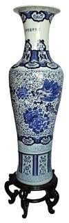 "<b>Large</b> Chinese <b>Porcelain Blue</b> and <b>White</b> Vase, 54"" High <b>Hand</b> ..."