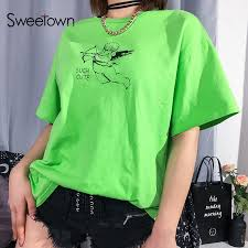 Sweetown Casual <b>Loose Woman</b> Oversized T Shirt Cute Cupid ...