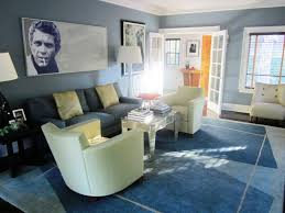 blue living rooms rugs white sofas and reflective table completing grey living room with blac