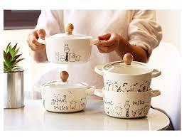Cartoon <b>Creative</b> Animal <b>Ceramic Bowl</b> Noodle <b>Bowl</b> with Cap ...