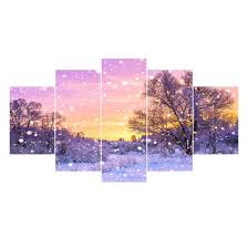 Shop 5 Piece <b>HD Printed</b> Canvas Paintings Snowing Posters Wall ...